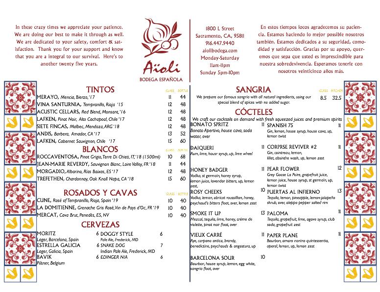 Aioli beverage menu