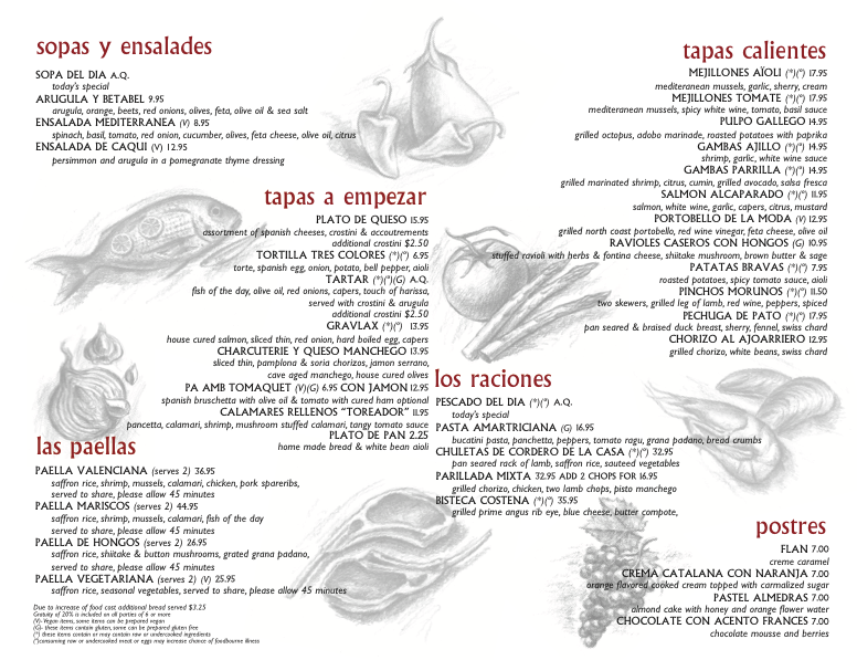 Aioli food menu
